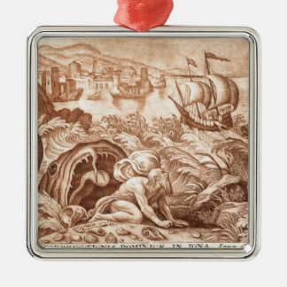 Jonah and the Whale, illustration from a Bible, en Christmas Ornament