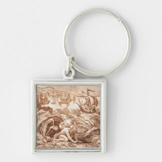 Jonah and the Whale, illustration from a Bible, en Key Chain