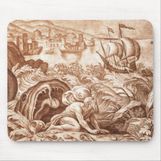 Jonah and the Whale, illustration from a Bible, en Mouse Mat