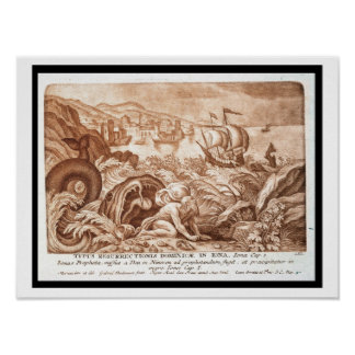 Jonah and the Whale, illustration from a Bible, en Print