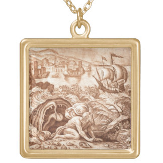 Jonah and the Whale, illustration from a Bible, en Square Pendant Necklace