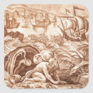 Jonah and the Whale, illustration from a Bible, en Square Sticker