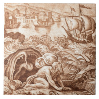 Jonah and the Whale, illustration from a Bible, en Large Square Tile
