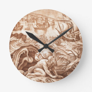 Jonah and the Whale, illustration from a Bible, en Wallclocks