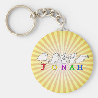 JONAH ASL FINGERSPELLED NAME SIGN MALE BASIC ROUND BUTTON KEY RING