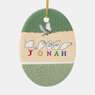 JONAH ASL FINGERSPELLED NAME SIGN MALE CERAMIC OVAL DECORATION