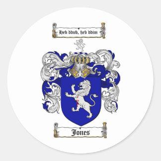 JONES FAMILY CREST -  JONES COAT OF ARMS ROUND STICKER