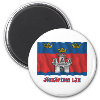 Jönköpings län waving flag with name 6 cm round magnet