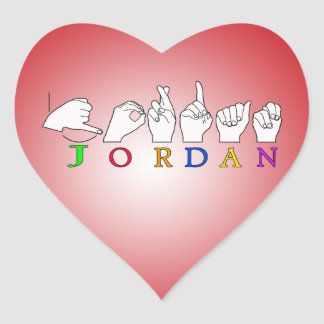 JORDAN ASL FINGERSPELLED NAME SIGN MALE HEART STICKER