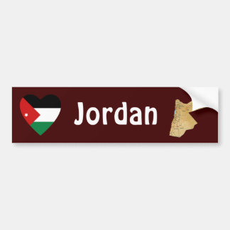 Jordan Flag Heart + Map Bumper Sticker