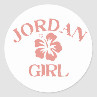 Jordan Pink Girl Classic Round Sticker
