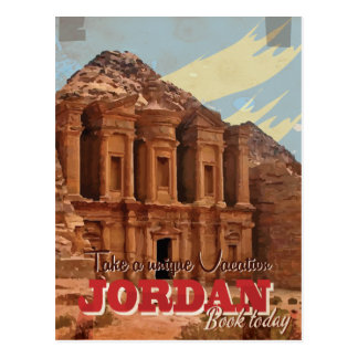 Jordan vacation Vintage Travel Poster. Postcard