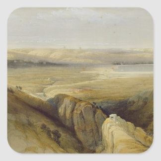 Jordan Valley, from Volume II of 'The Holy Land' Square Sticker