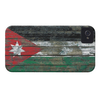 Jordanian Flag on Rough Wood Boards Effect iPhone 4 Case-Mate Case
