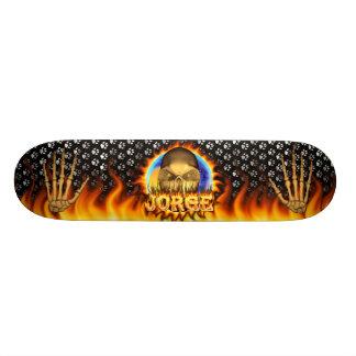 Jorge skull real fire and flames skateboard design