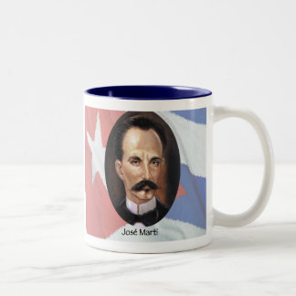 Jose Marti on Cuban Flag Two-Tone Coffee Mug