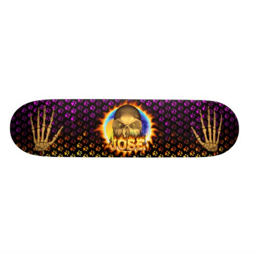 Jose skull real fire and flames skateboard design.