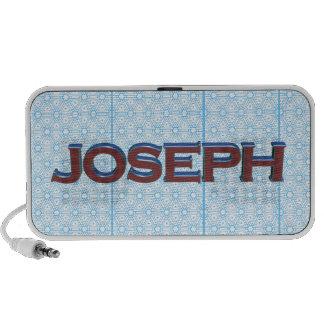 Joseph 3D text graphic over light blue lace Travel Speaker