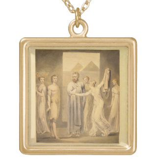 Joseph and Potiphar's Wife, 1803-05 (pen & ink and Square Pendant Necklace