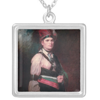 Joseph Brant, Chief of the Mohawks, 1742-1807 Square Pendant Necklace