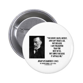Joseph Conrad Hate Detest Lie Appalls Me Quote 6 Cm Round Badge