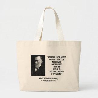 Joseph Conrad Hate Detest Lie Appalls Me Quote Jumbo Tote Bag