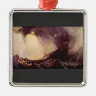 Joseph Mallord Turner - Hanibal crossing Alps in a Square Metal Christmas Ornament