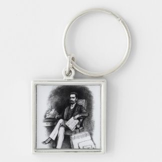 Joseph Pulitzer  from 'The Curio', 1887 Silver-Colored Square Key Ring