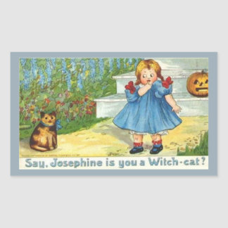Josephine the witch Cat Rectangular Sticker