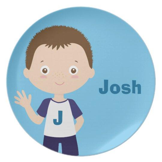 josh   personalised melamine plate for boy