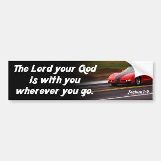 Joshua 1:9 Bible Verse Red Car Christian Religious Bumper Sticker