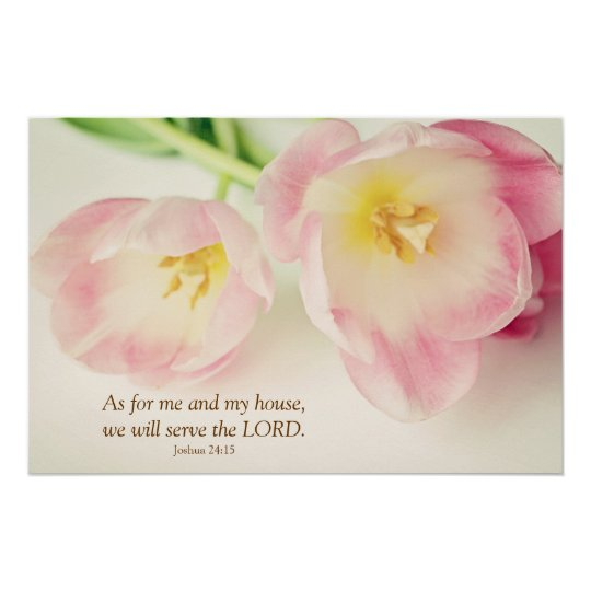 Joshua 24:15 Bible Verse Vintage Pink Tulips Poster