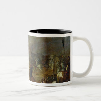 Joshua at the walls of Jericho Two-Tone Coffee Mug