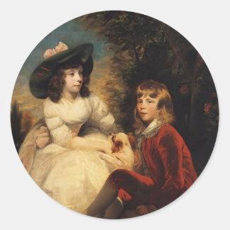 Joshua Reynolds-Children of John Julius Angerstein Round Stickers