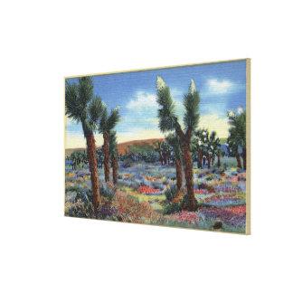 Joshua Trees and Desert Wild Flowers View Canvas Print