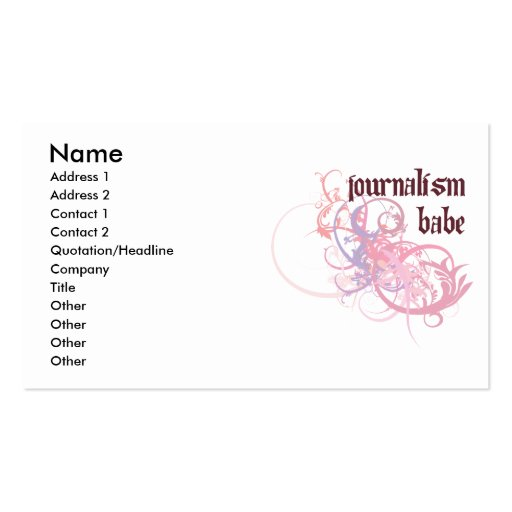 Create your own journalist business cards journalism babe business card reheart Images