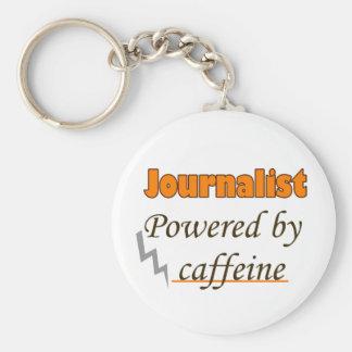Journalist Powered by caffeine Basic Round Button Key Ring