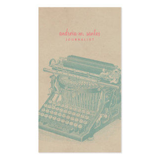 Journalist Vintage Typewriter Cool Mint Modern Pack Of Standard Business Cards