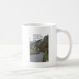 Journey of a thousand mile begin with single step basic white mug