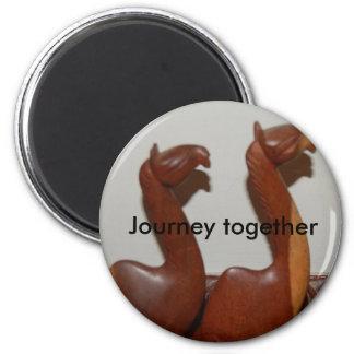 Journey together 6 cm round magnet