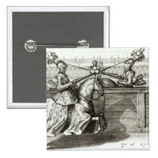Jousting Tournament in a square 15 Cm Square Badge