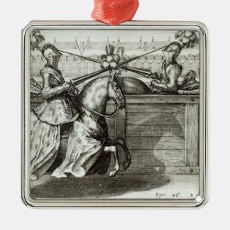 Jousting Tournament in a square Silver-Colored Square Decoration