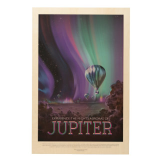 Jovian Aurora space destination holiday vacation Wood Wall Decor