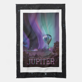 Jovian Aurora space destination vacation advert Tea Towel