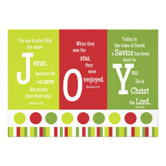 JOY 2-Sided Scripture Verse Christmas Card Announcement
