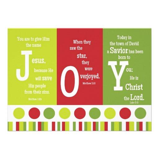 JOY 2-Sided Scripture Verse Christmas Card Announcement