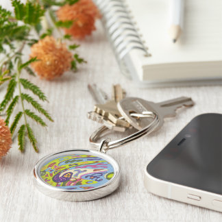 Joy, abstract Silver-Colored round key ring