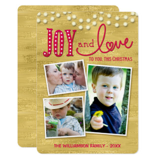 Joy and Love Glittery Gold Holiday Photo Card