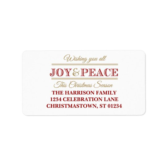 Joy and Peace Christmas Address Labels