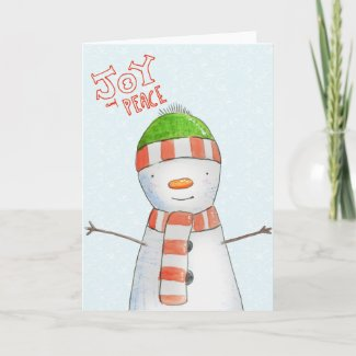 Joy and Peace | Cute Snowman Christmas Holiday Card